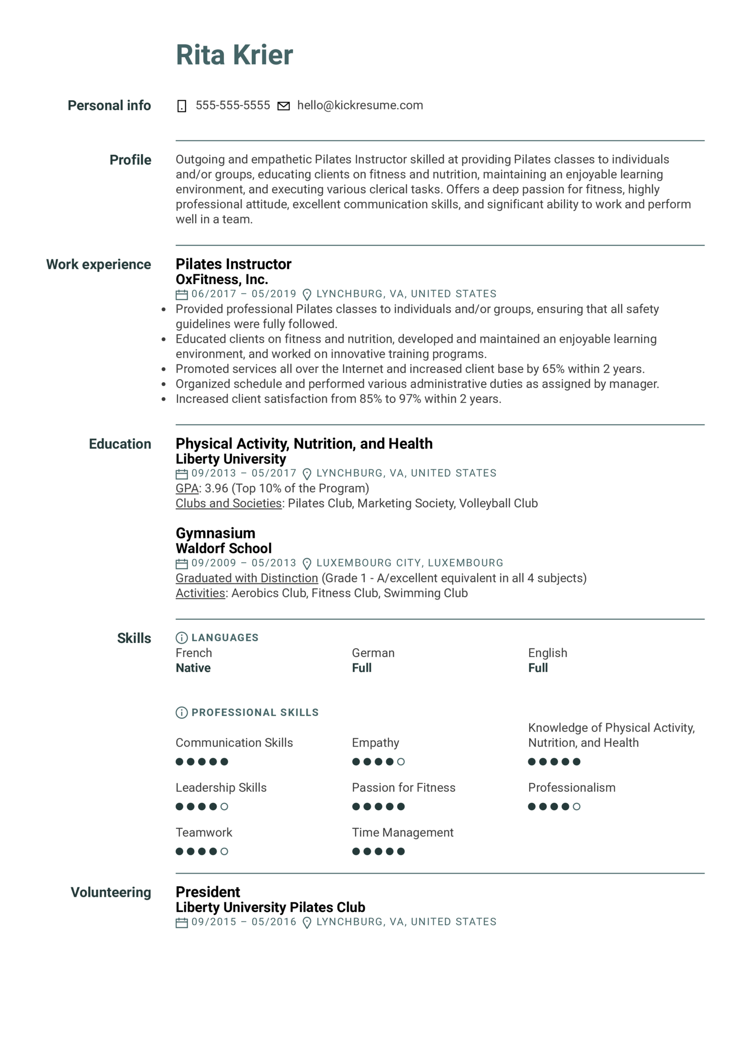 Resume Examples by Real People: Pilates Instructor Resume Sample ...