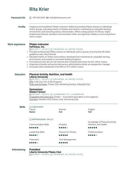 Pilates Instructor Resume Sample