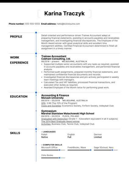 Trainee Accountant Resume Example