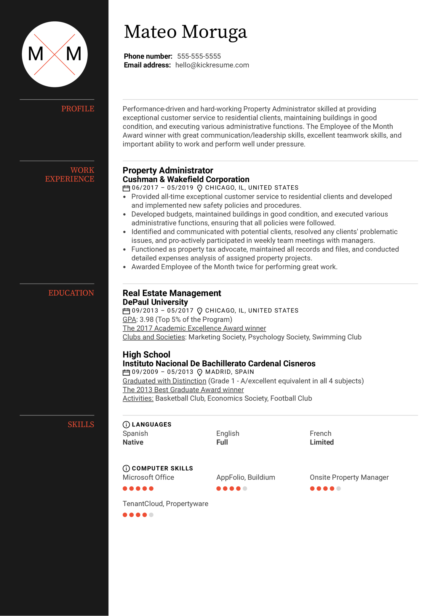Property Administrator Resume Sample