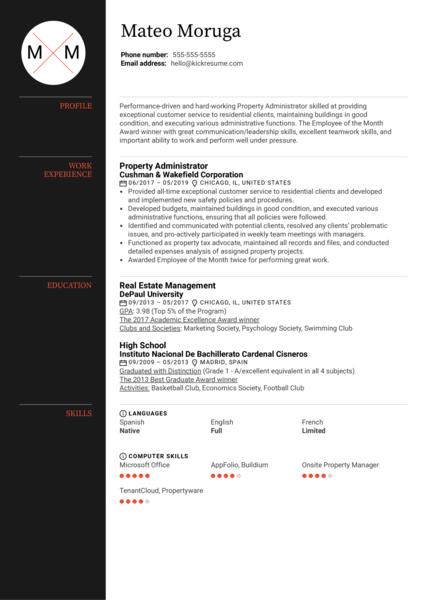 Property Administrator Resume Sample