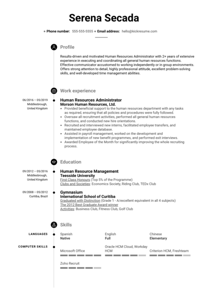 Human Resources Administrator Resume Example