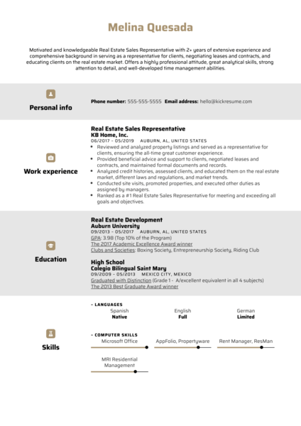 Real Estate Sales Representative Resume Example