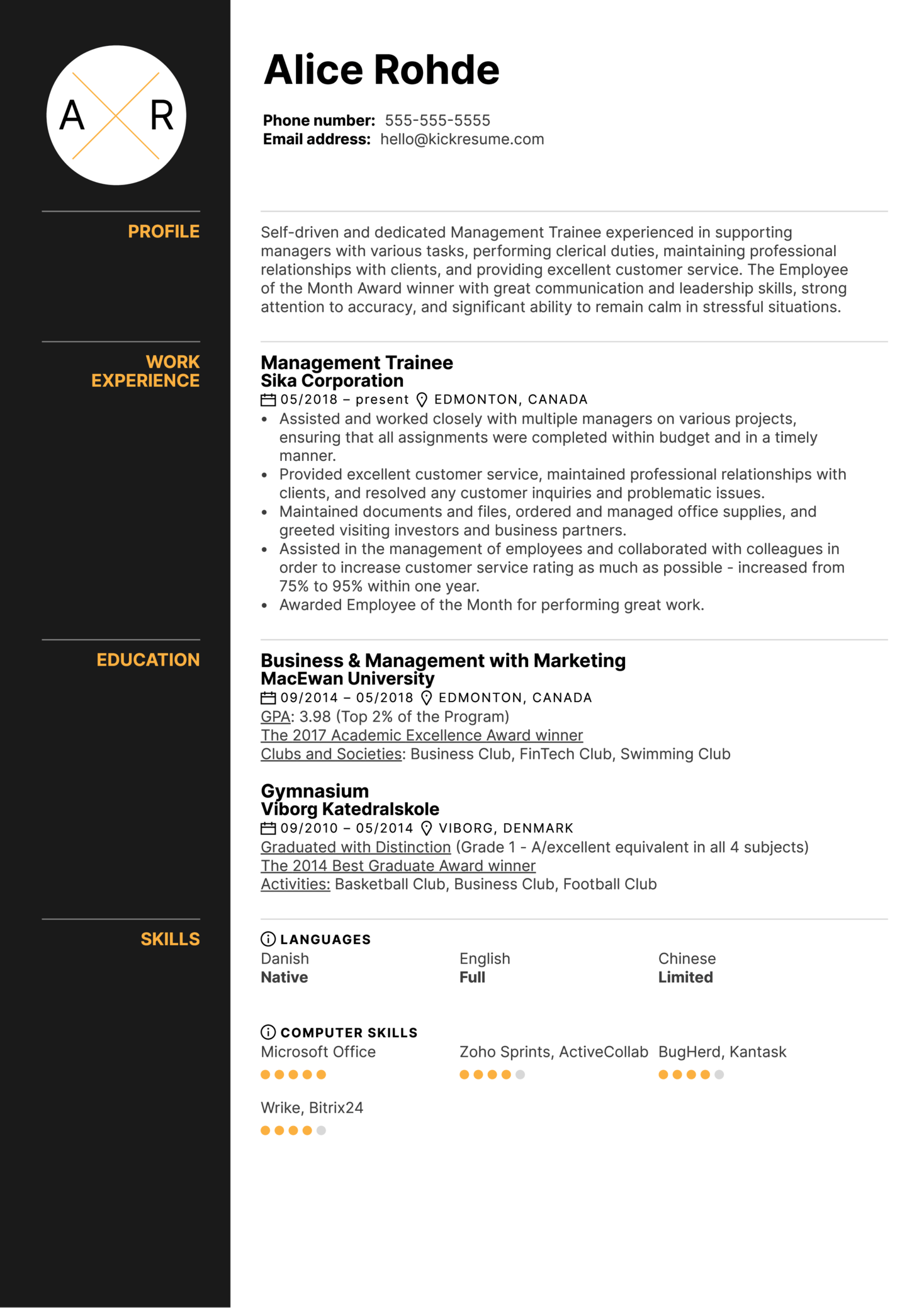 Management Trainee Resume Example Kickresume