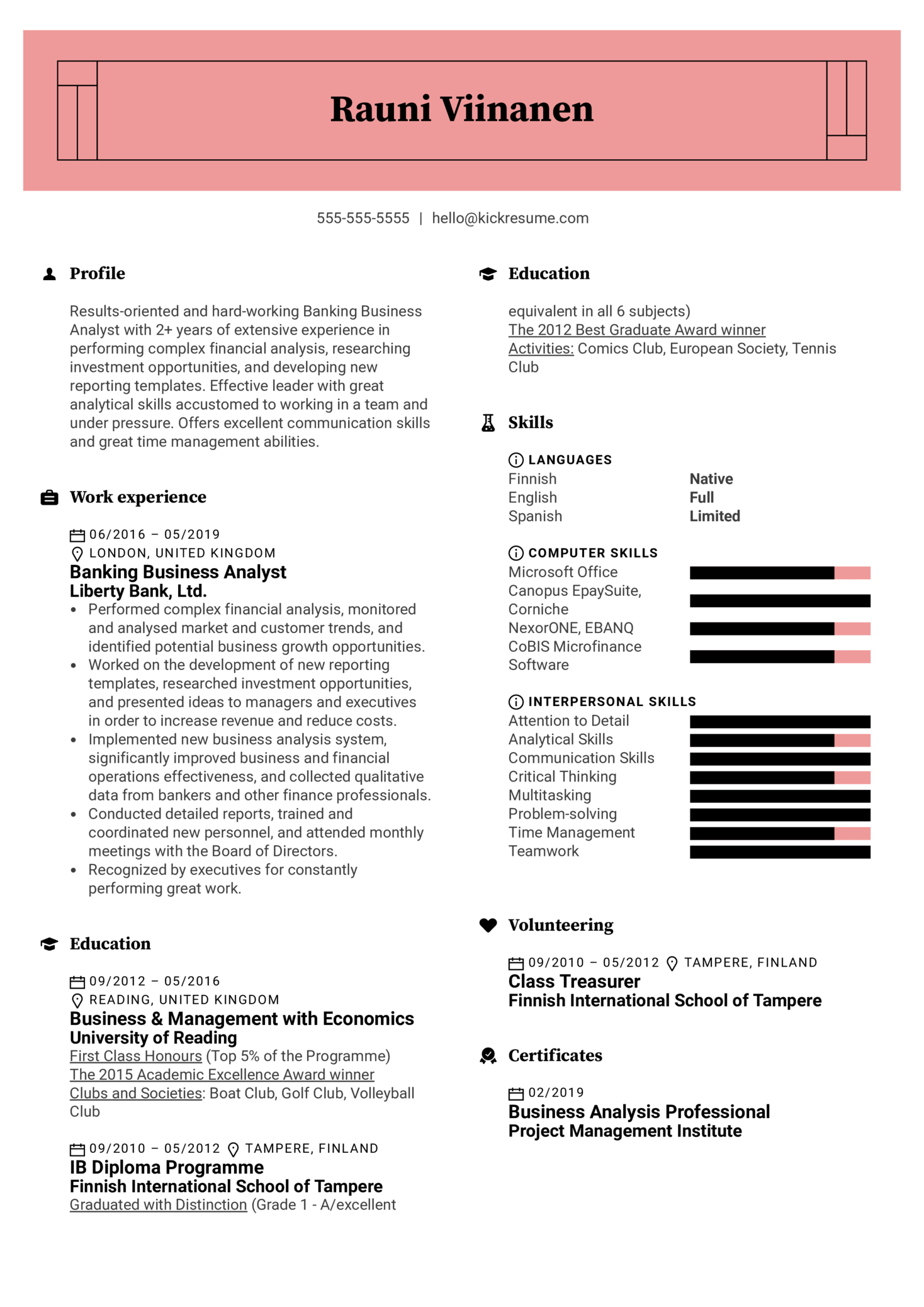 Banking Business Analyst Resume Sample Kickresume