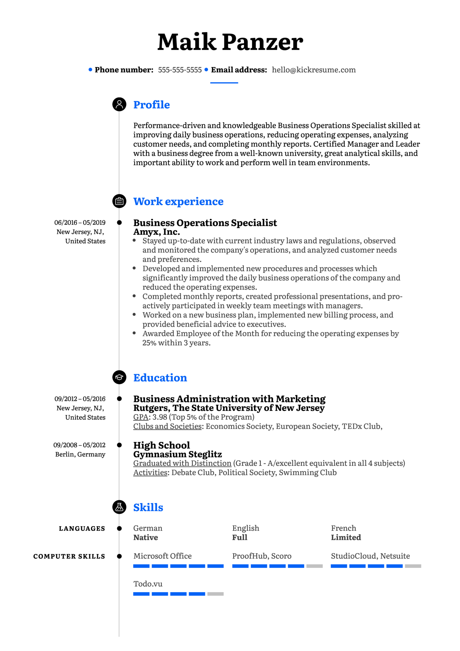 Business Operations Specialist Resume Example (Part 1)