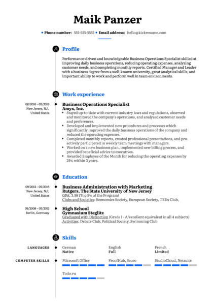 Business Operations Specialist Resume Example