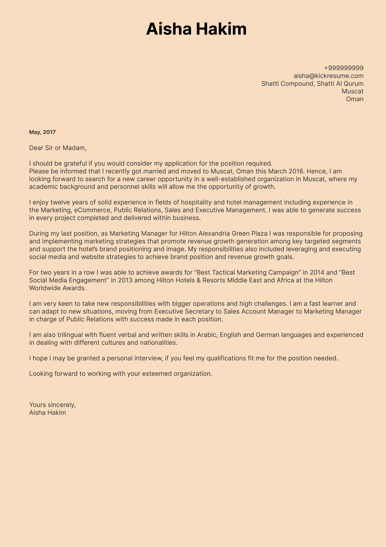 Sheraton Marketing Manager Cover Letter Sample Cover Letter