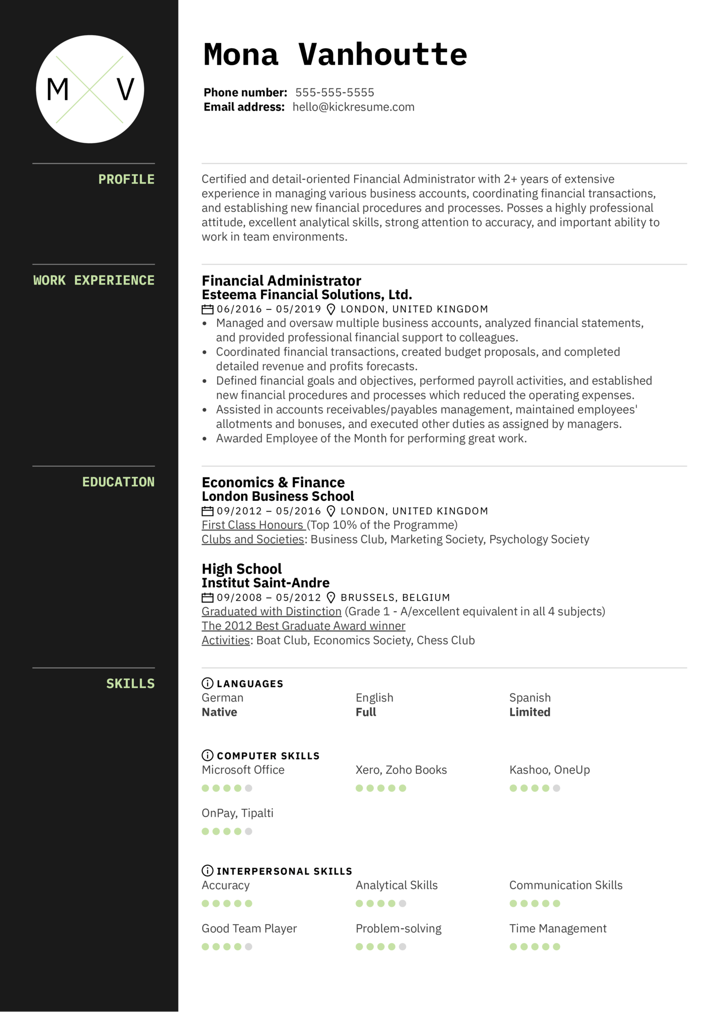 resume examples by real people  financial administrator resume sample