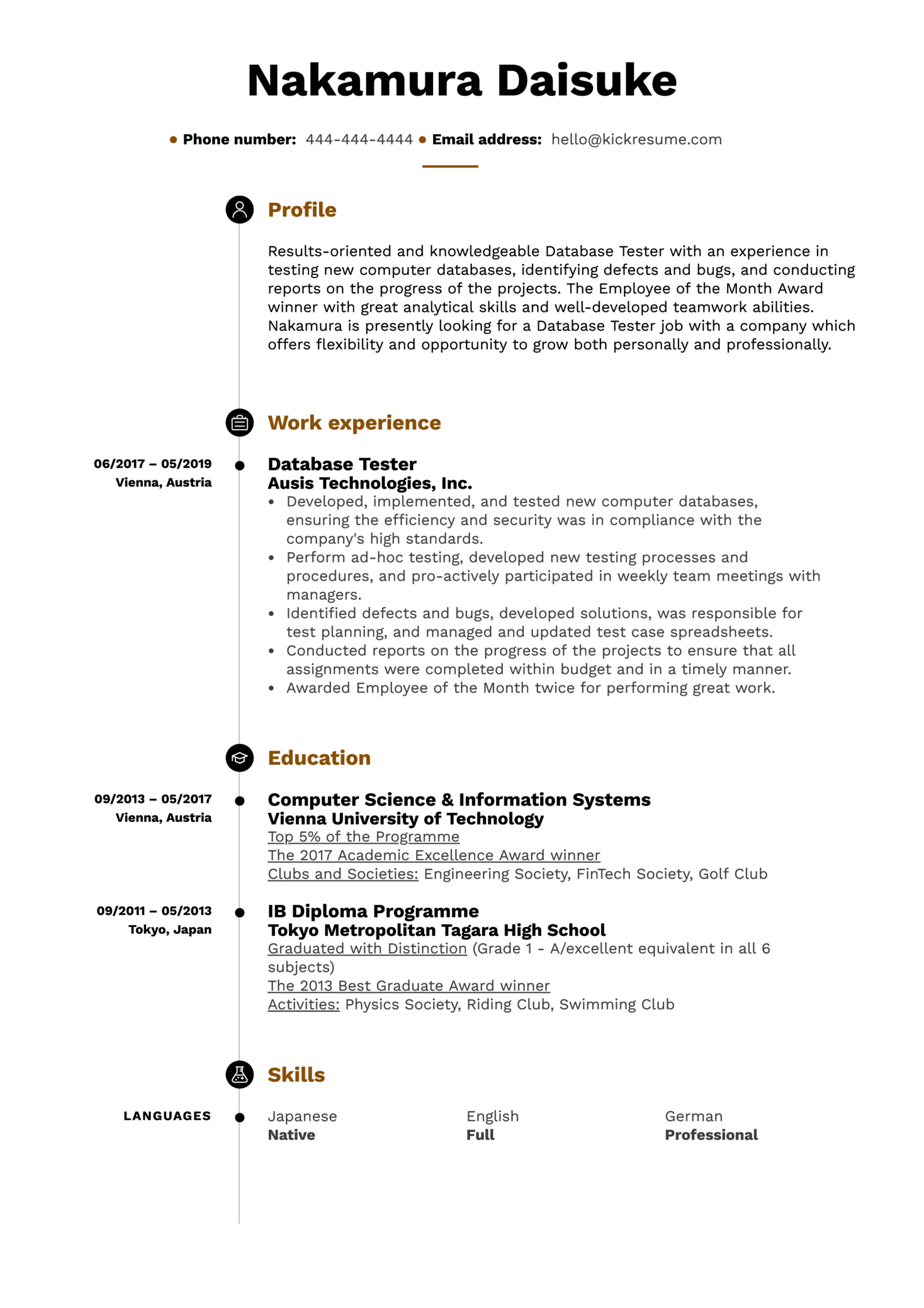 Database Tester Resume Sample
