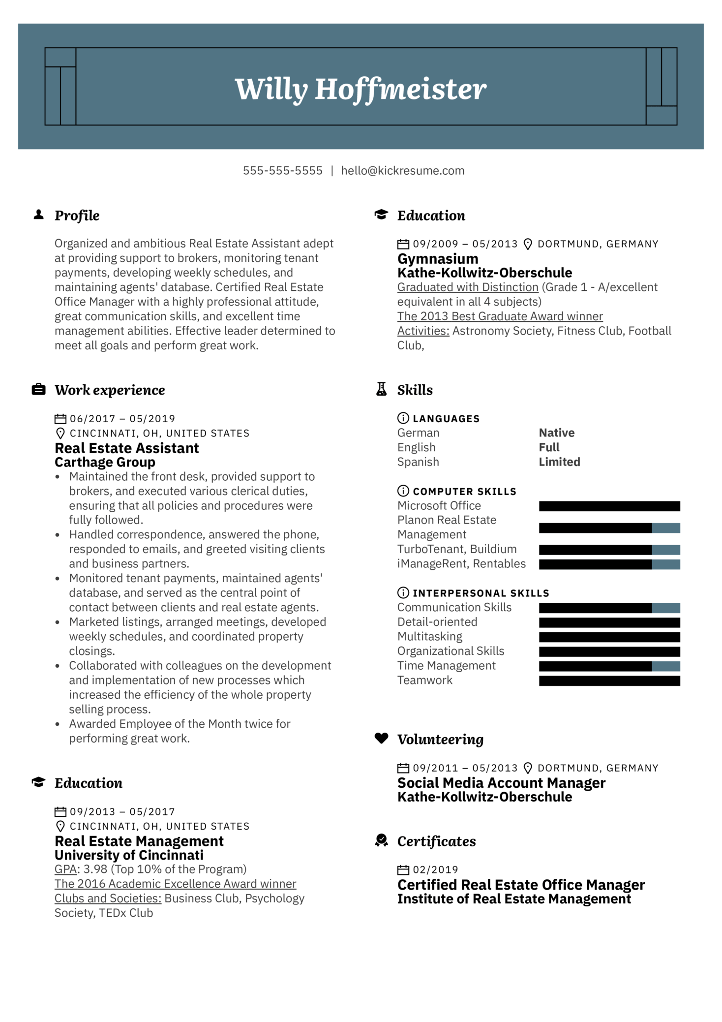 Real Estate Assistant Resume Sample