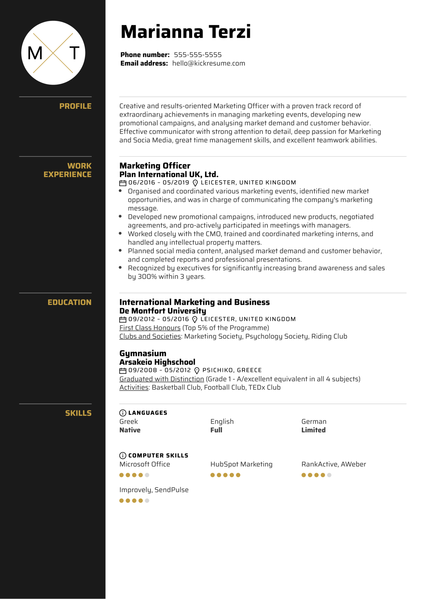 Marketing Officer Resume Sample Kickresume
