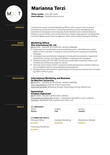 Marketing Officer Resume Sample