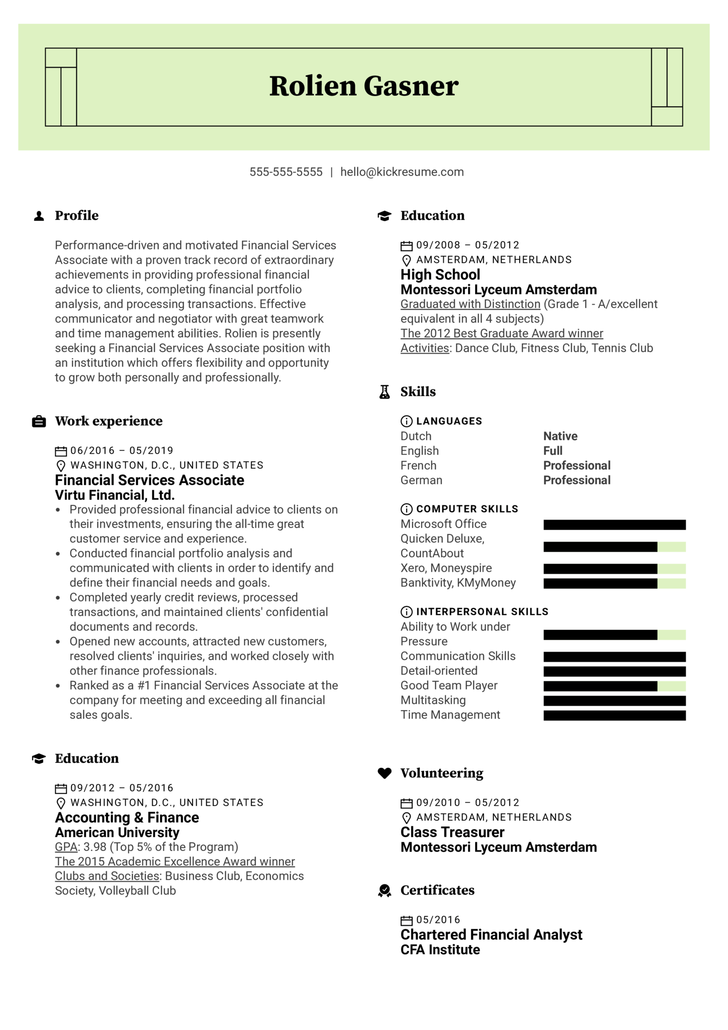 Financial Services Associate Resume Example (Part 1)