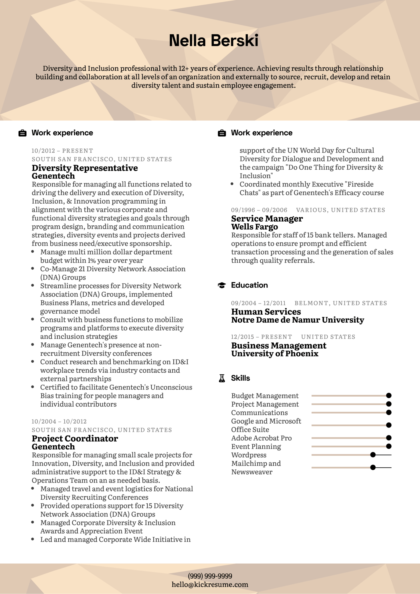 diversity and inclusion resume sample