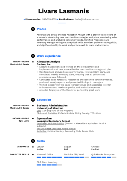 Allocation Analyst Resume Example