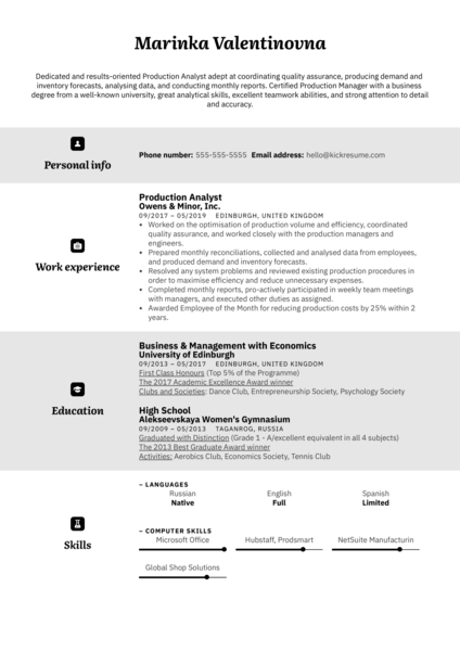 Production Analyst Resume Example