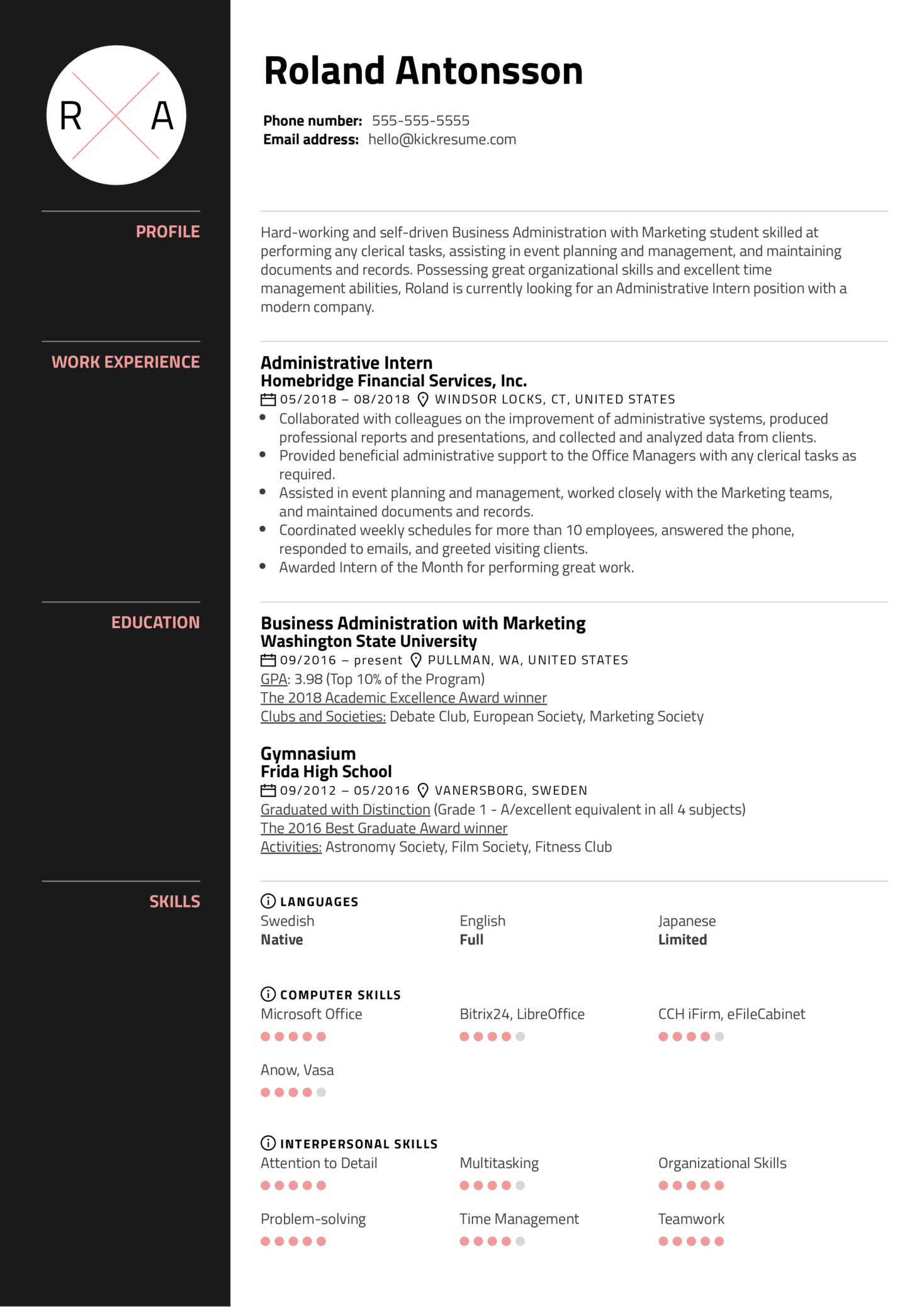Administrative Intern Resume Sample