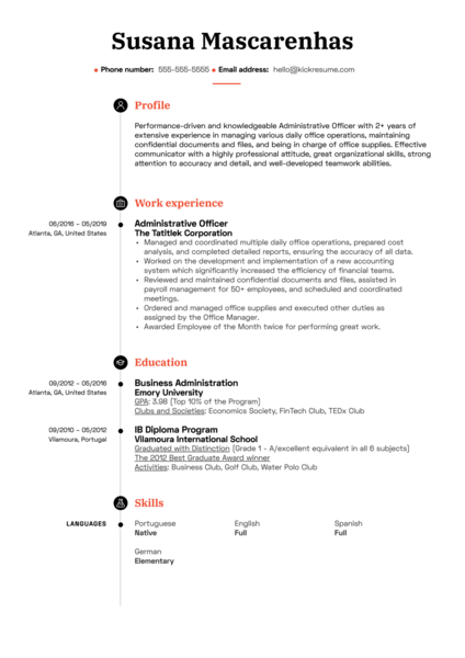 Administrative Officer Resume Sample