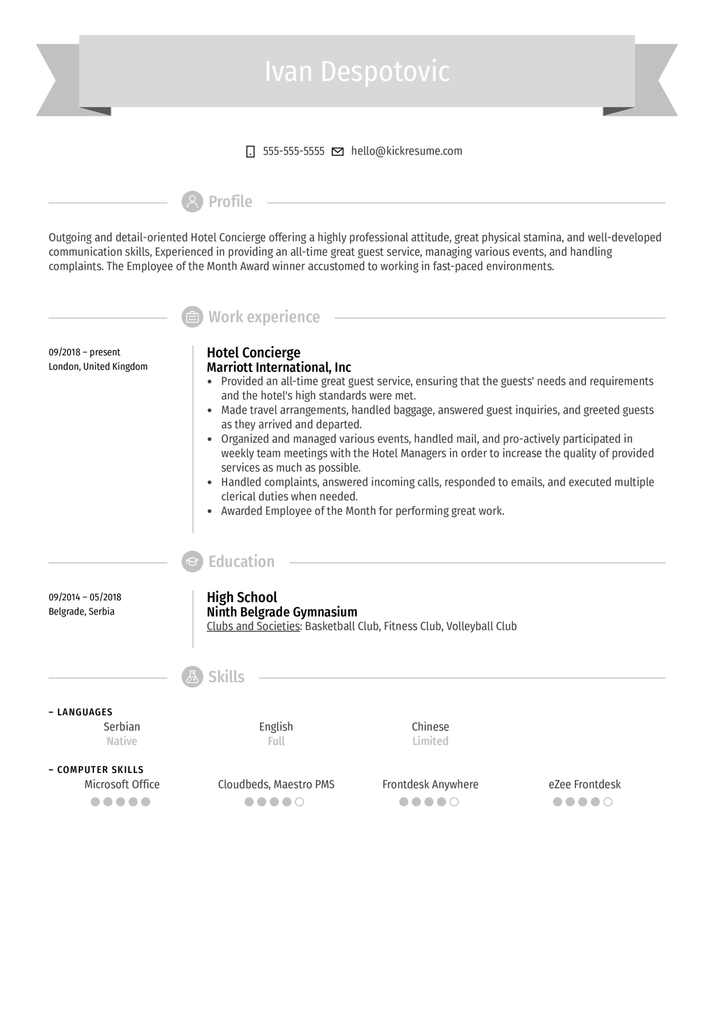 Hotel Concierge Resume Example (Part 1)