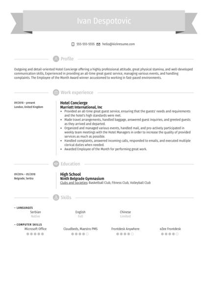 Hotel Concierge Resume Example