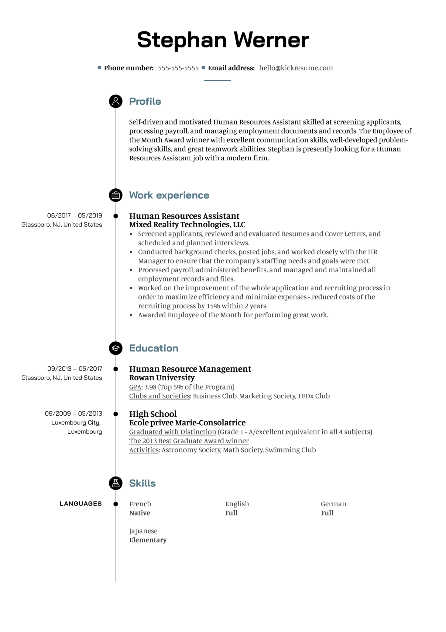 Human Resources Assistant Resume Example