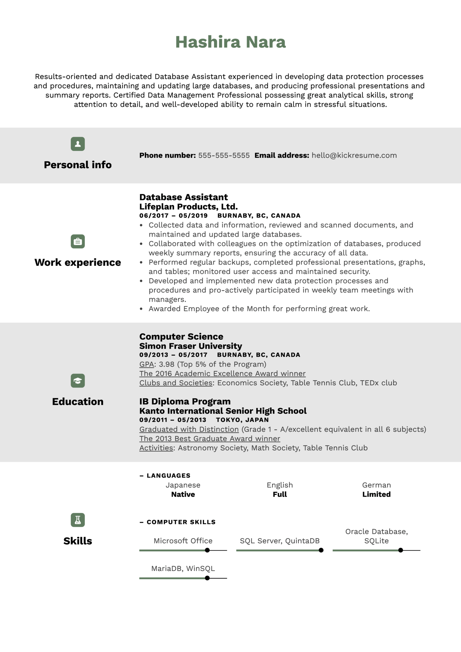 Database Assistant Resume Sample