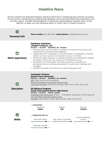Database Assistant Resume Sample