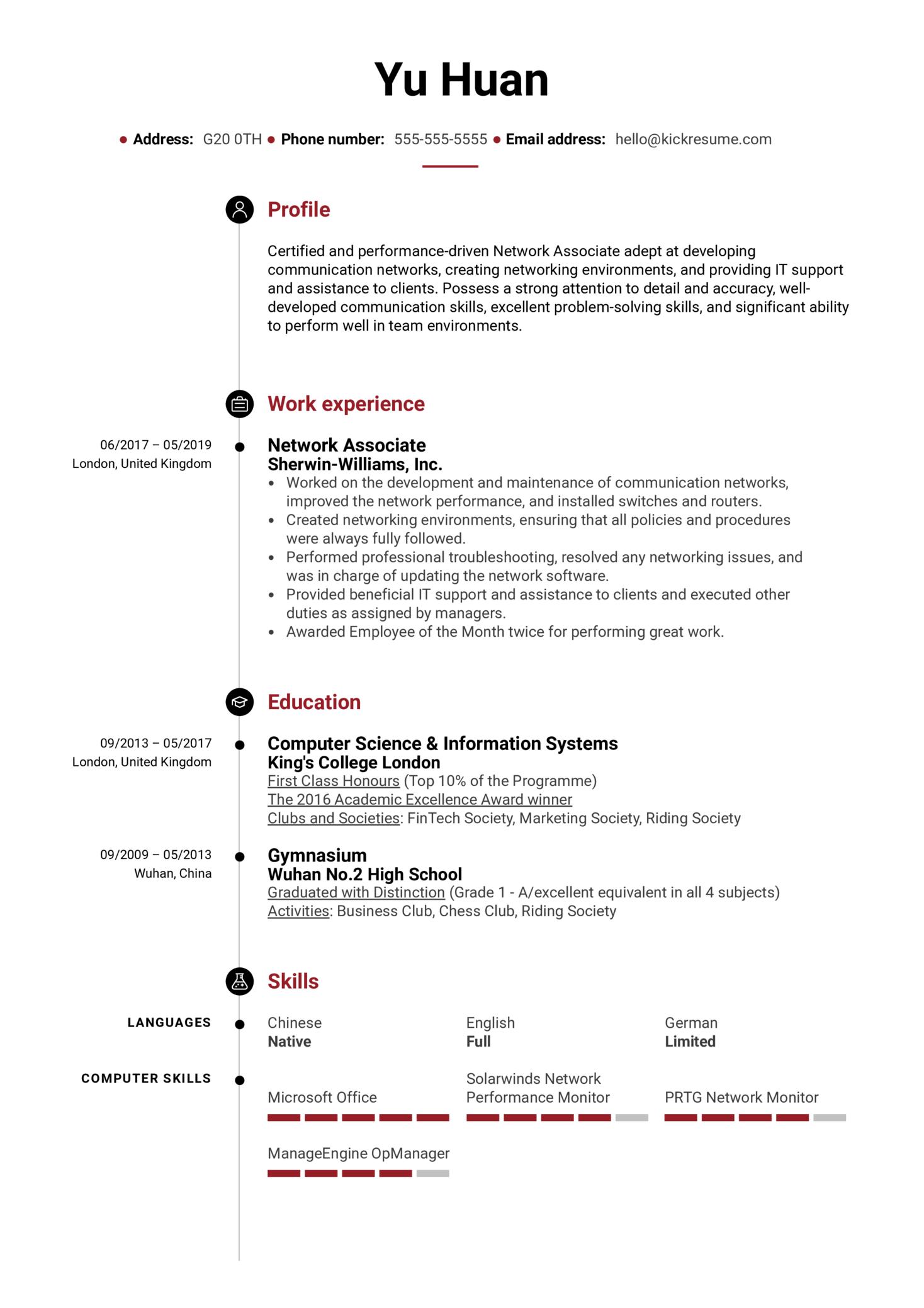 Network Associate Resume Sample (parte 1)