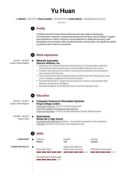 Network Associate Resume Sample