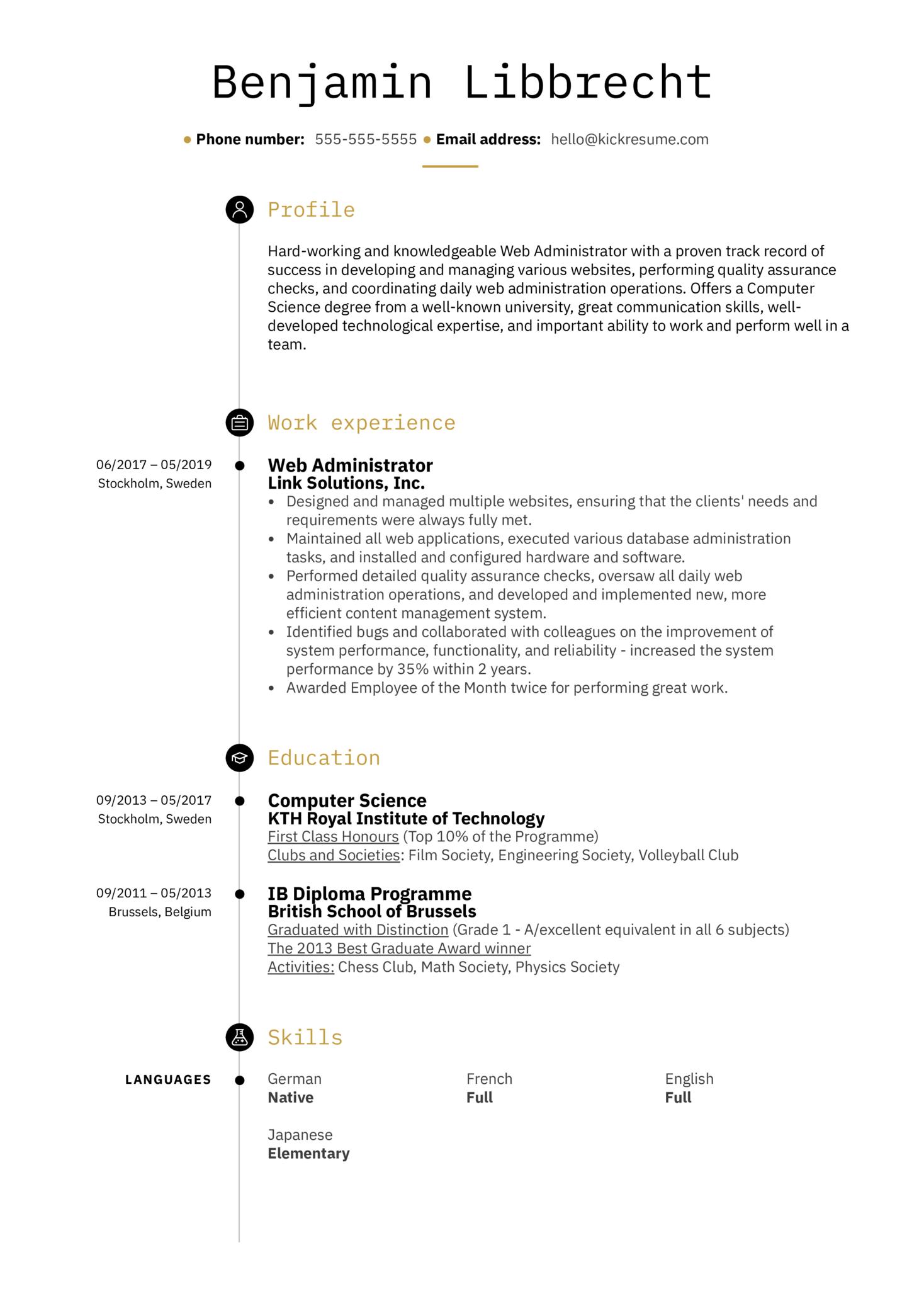 Web Administrator Resume Sample (Part 1)