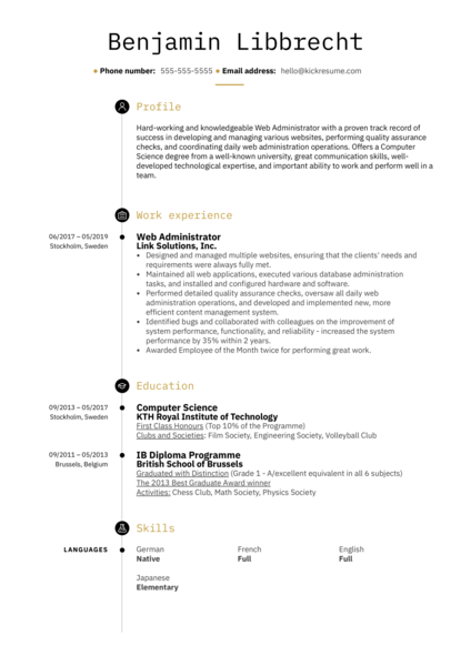Web Administrator Resume Sample