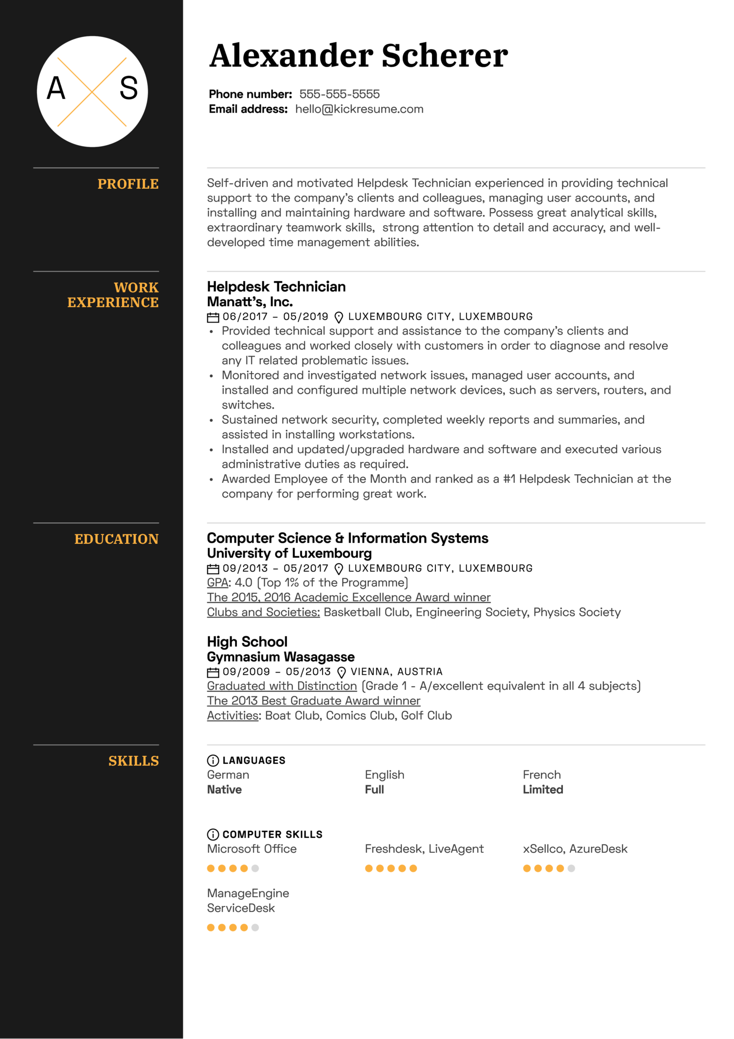 Helpdesk Technician Resume Sample