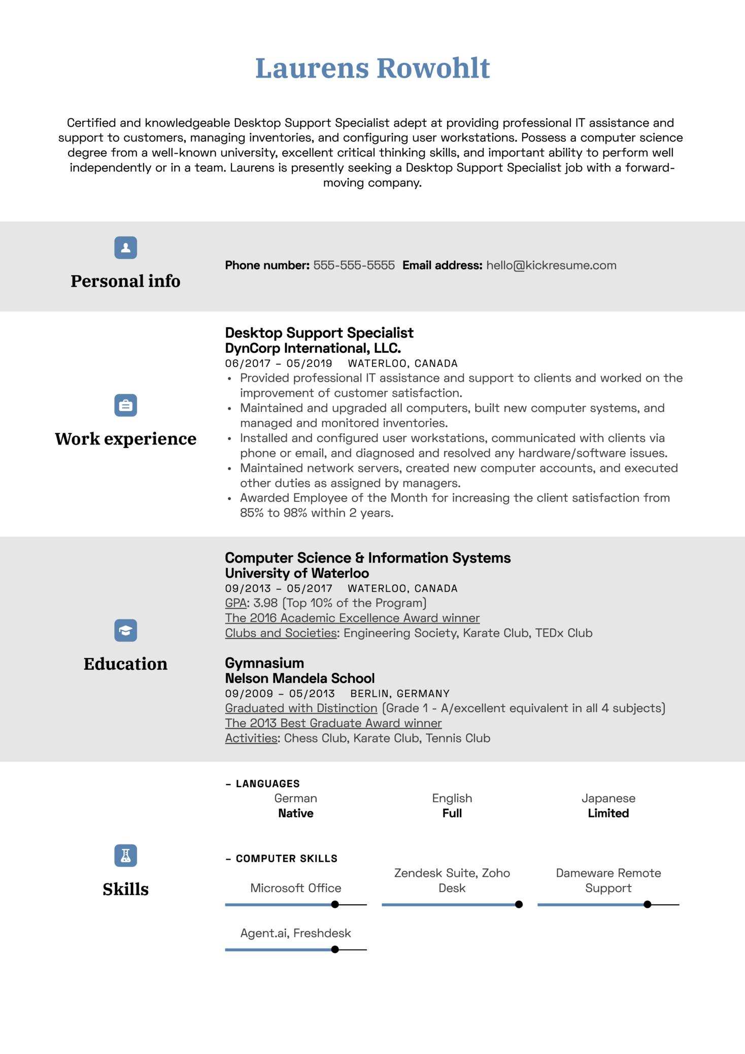 Desktop Support Specialist Resume Sample (parte 1)