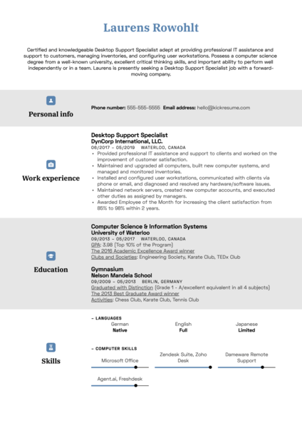 Desktop Support Specialist Resume Sample