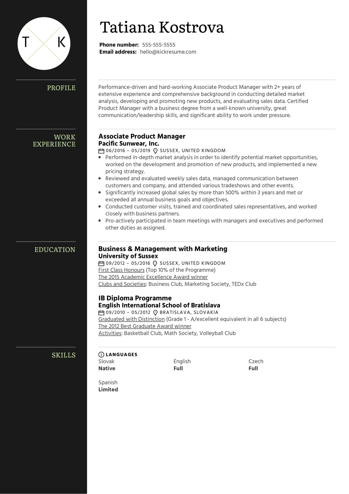 Associate Product Manager Resume Example (Part 1)