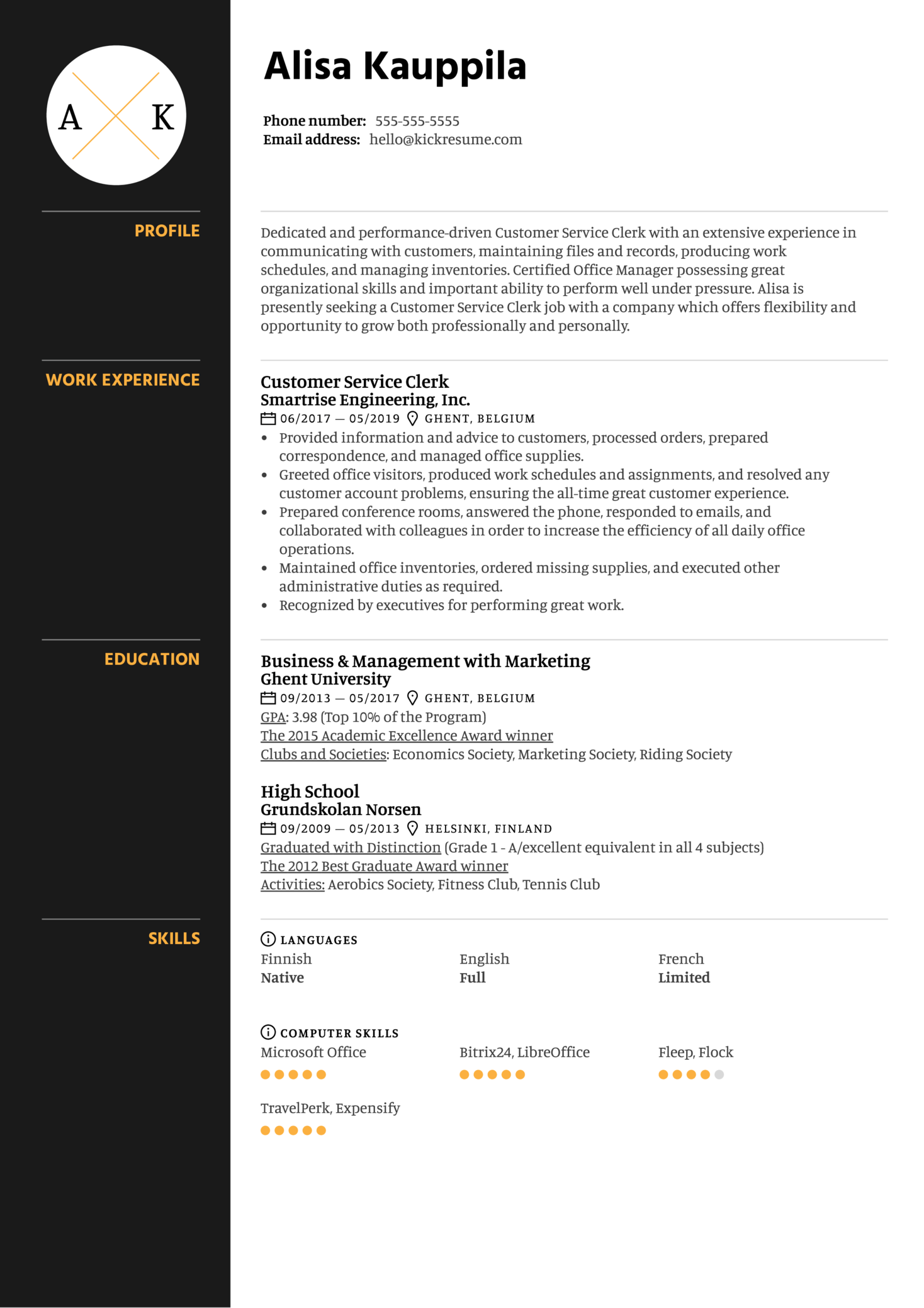 Customer Service Clerk Resume Sample Kickresume