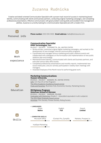 Communication Specialist Resume Sample