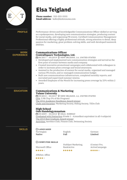 Communications Officer Resume Example
