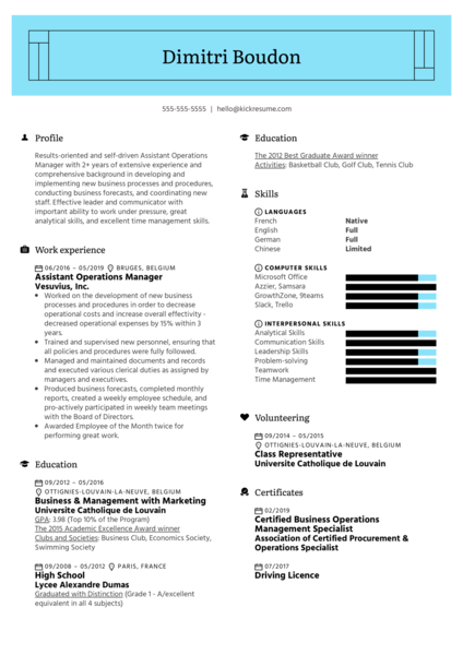Assistant Operations Manager Resume Example