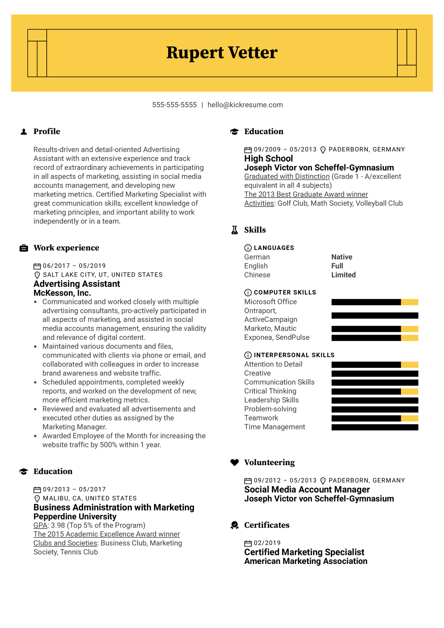 resume examples by real people  advertising assistant resume sample