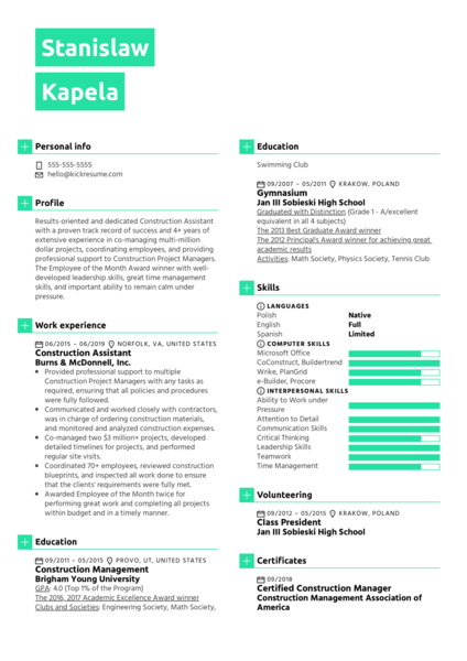 Construction Assistant Resume Sample