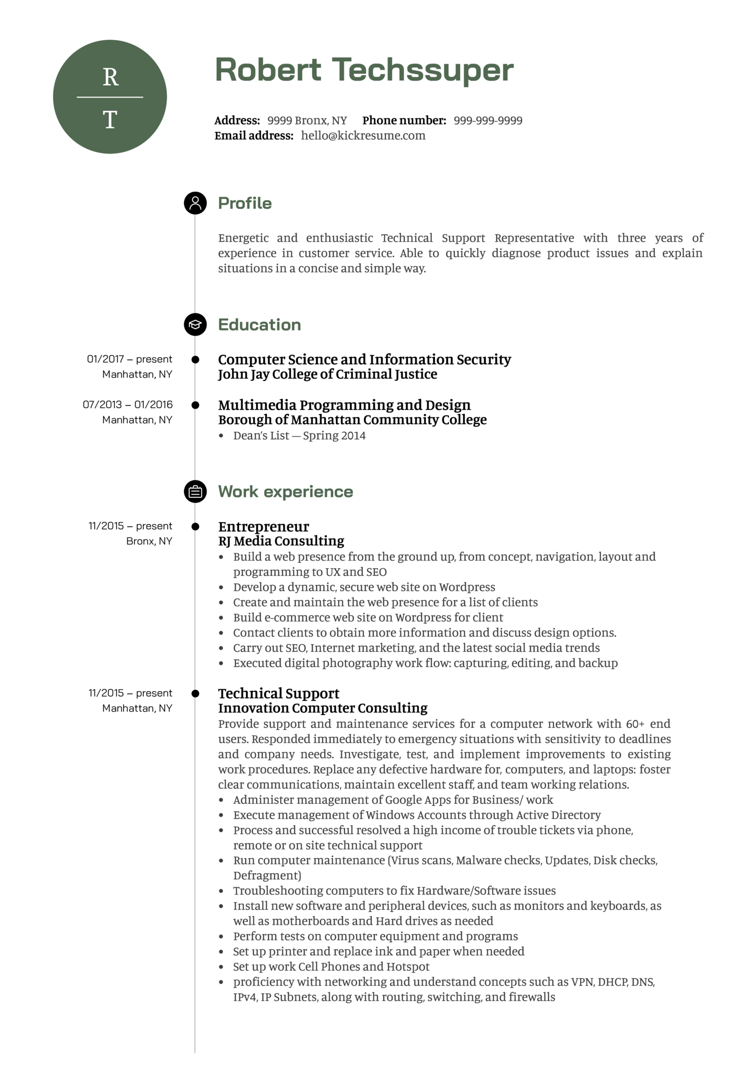 Technical Support Representative Resume Sample Kickresume
