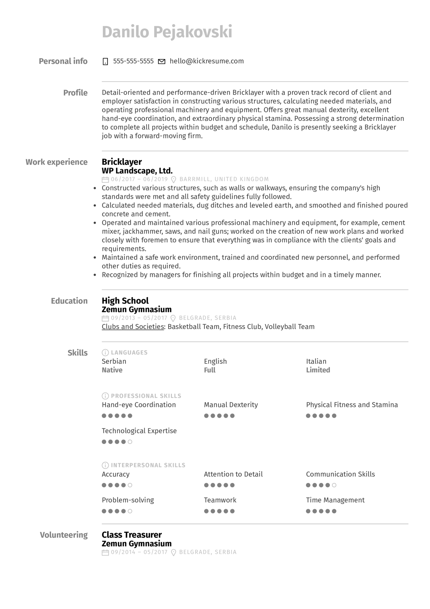 Bricklayer Resume Sample Kickresume