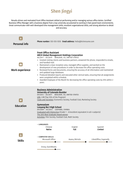 Front Office Assistant Resume Example