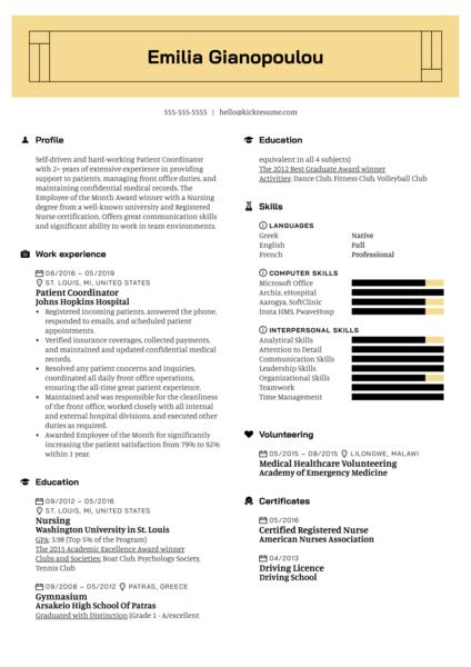 Patient Coordinator Resume Example