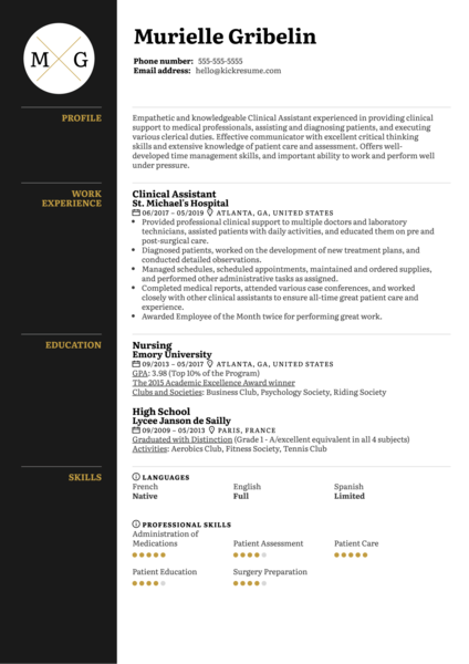 Clinical Assistant Resume Template