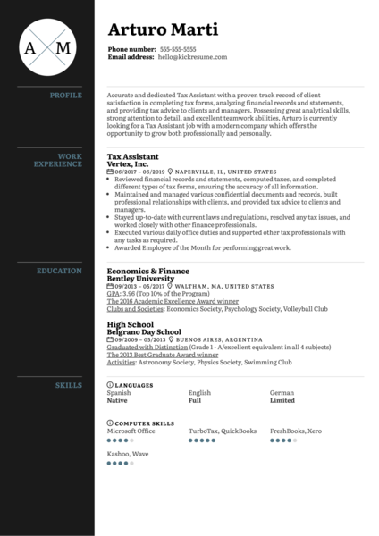 Tax Assistant Resume Sample