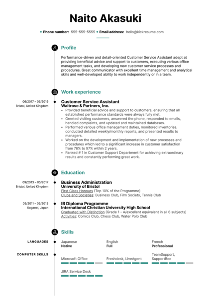 Customer Service Assistant Resume Sample