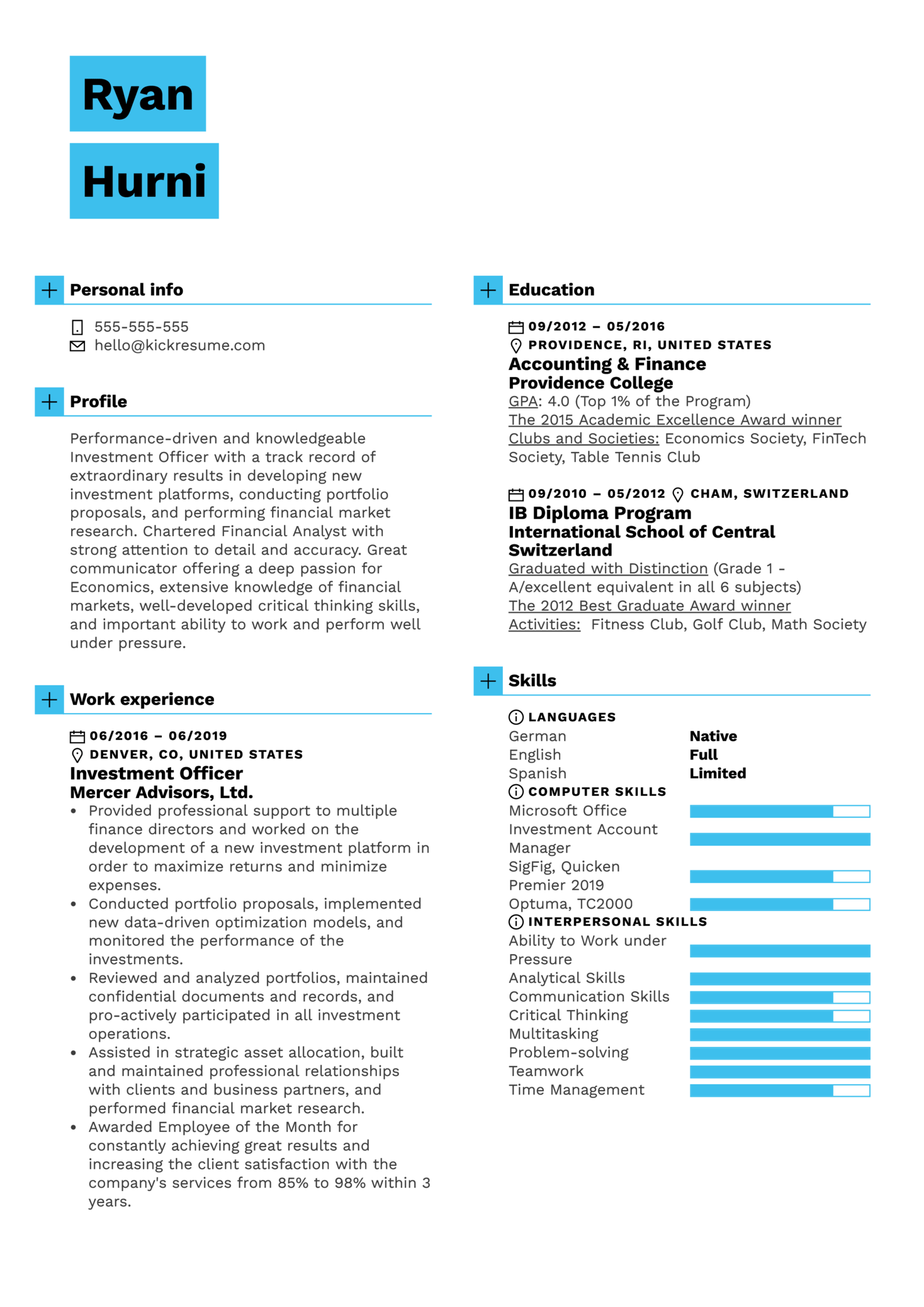 Investment Officer Resume Example (Part 1)